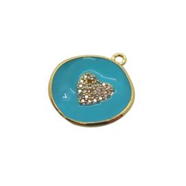 Zirconia Heart Blue Gold Charm