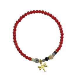 Handmade bracelet - red, black, lila