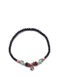 Handmade bracelet - black, red, pink