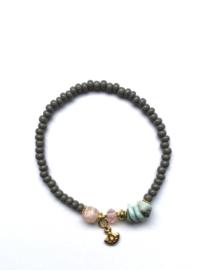 Handmade bracelet - grey, light pink, light turquoise