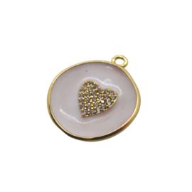 Zirconia Heart White Gold Charm