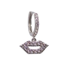 Zirconia Lips Silver Earring