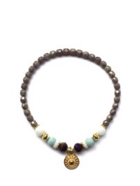 Handmade bracelet - purple, white, seagreen