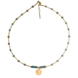 Necklace  Coin Turquoise Gemstone