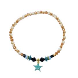 Handmade bracelet - beige brown, black, turquoise