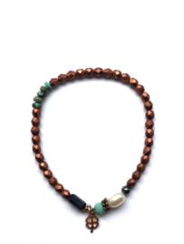 Handmade bracelet - copper brown, black, pearl