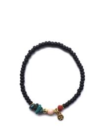 Handmade bracelet - black, turquoise, red