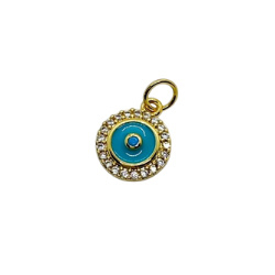 Textured Turquoise Gold Pendant