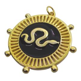 Black Snake Gold Charm