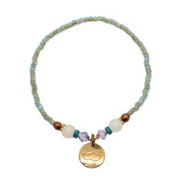 Handmade bracelet - transparant aqua green, copper
