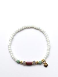 Handmade bracelet - white, red, turquoise