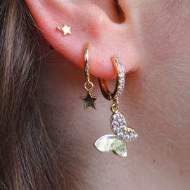 Zirconia Butterfly Gold Earring