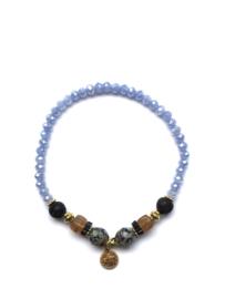 Handmade bracelet - light blue, brown