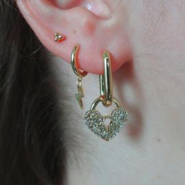 Zirconia Heart Lock Earring