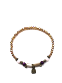 Handmade bracelet - brown, purple, lila