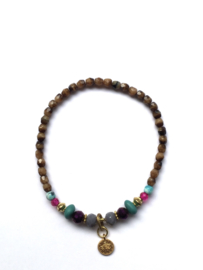 Handmade bracelet - brown, purple, seagreen