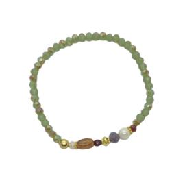 Handmade bracelet - light green, brown, dark red