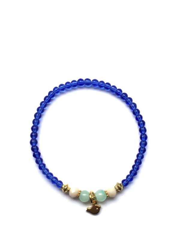 Handmade bracelet - blue, jade, beige