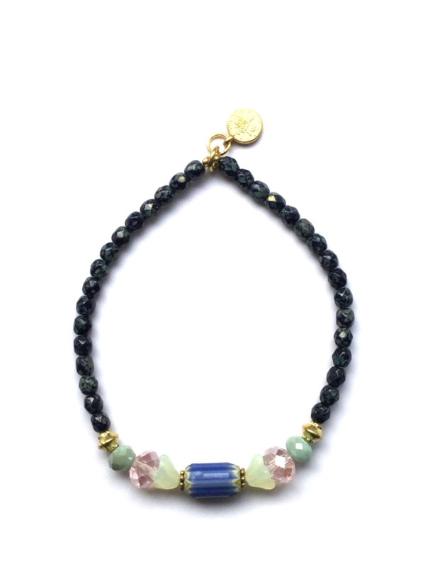 Handmade bracelet - greenblue, green, light pink