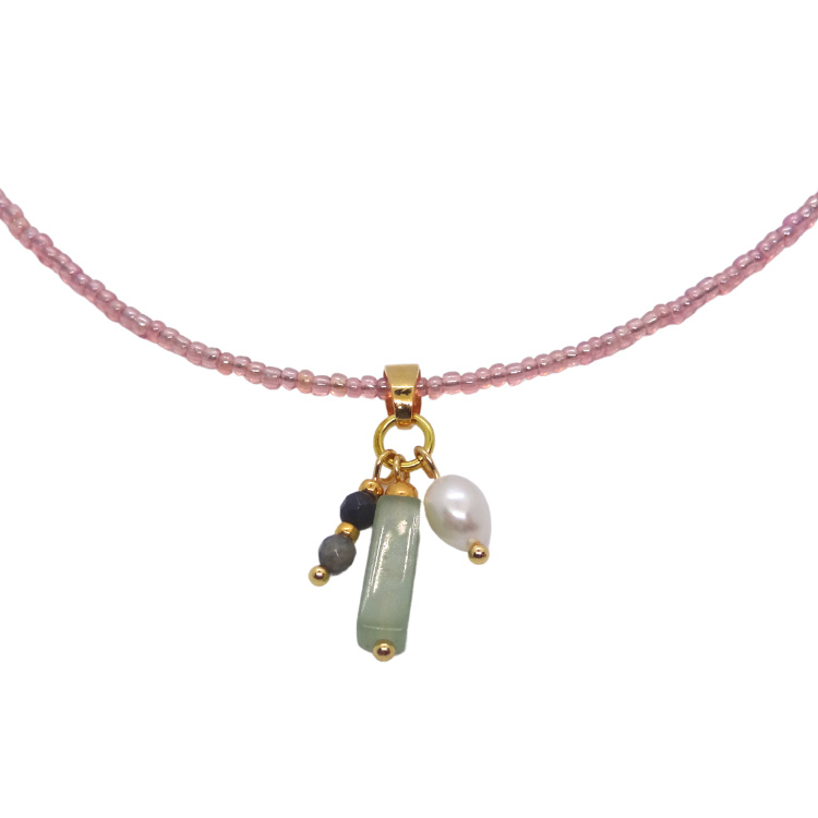 Necklace Miyuki Pink Jade