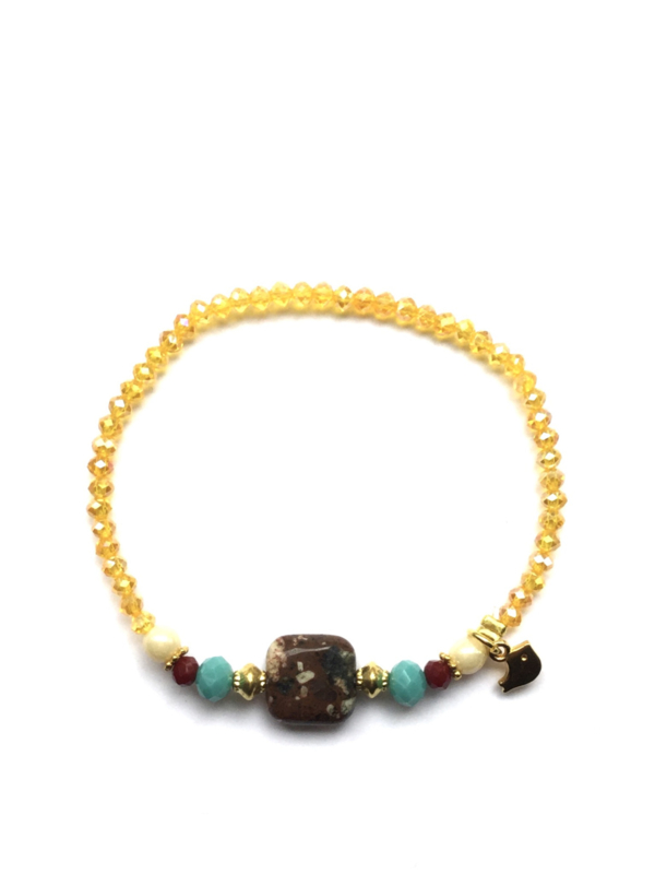 Handmade bracelet - ocher yellow, brown, turquoise
