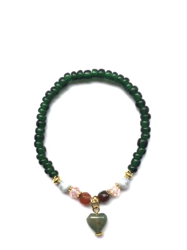 Handmade bracelet - dark green, pink, light blue