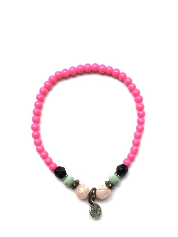 Handmade bracelet - fuchsia pink, green, black