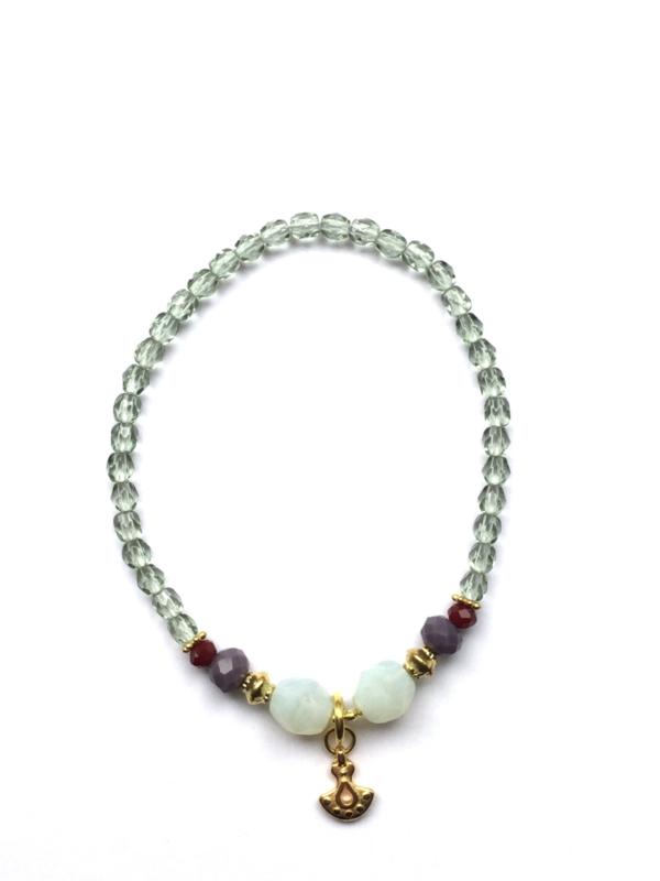 Handmade bracelet - light green, purple, red