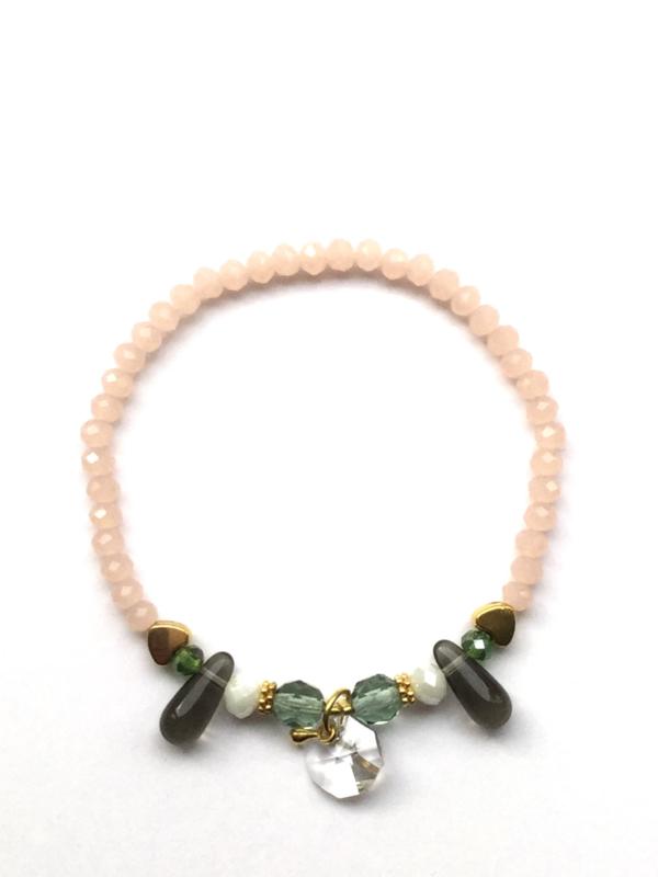 Handmade bracelet - light pink, green