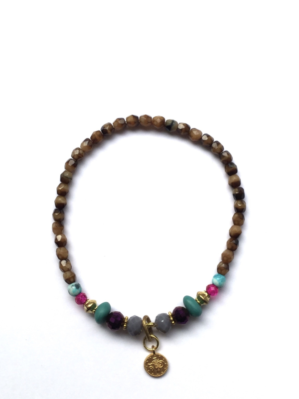 Handmade bracelet - brown, purple, seagreen