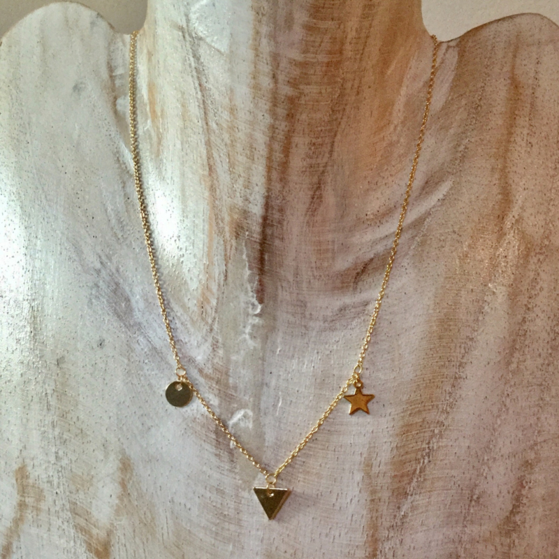 Necklace Star Triangle Round - gold