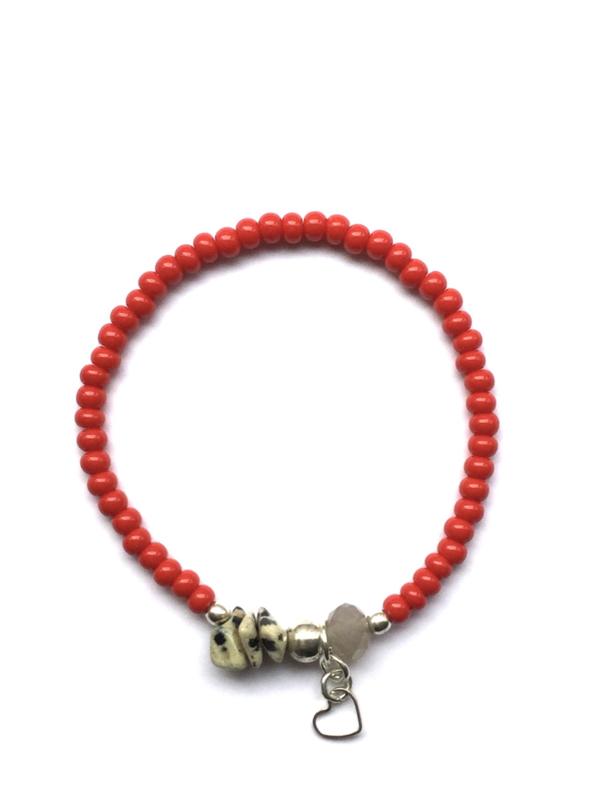 Handmade bracelet - red, grey