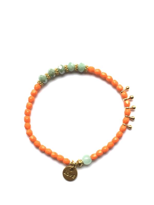 Handmade bracelet - orange, light seagreen