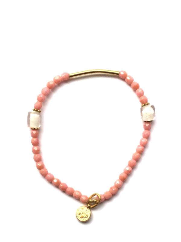 Handmade bracelet - light pink, white