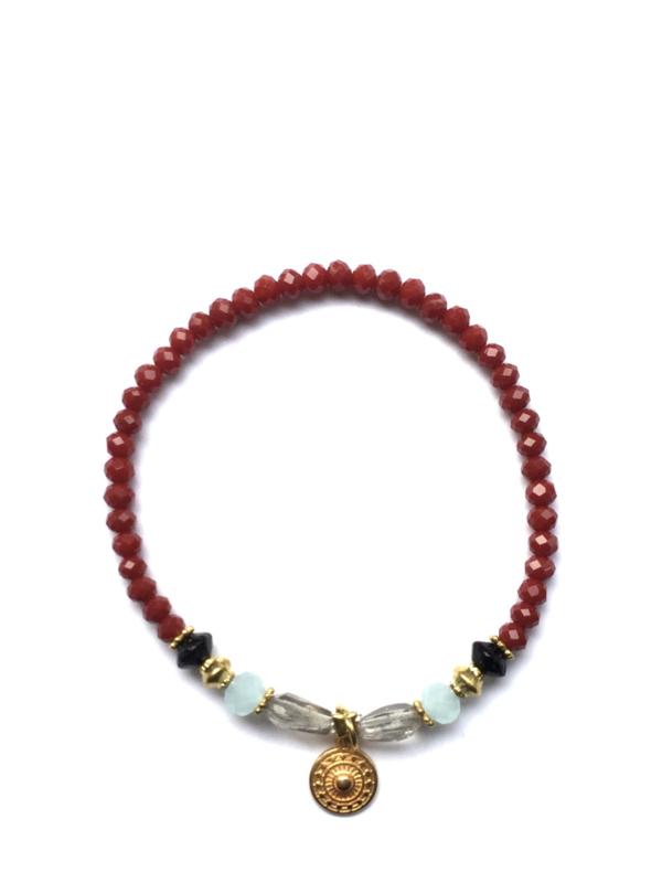 Handmade bracelet - burgundy red, white grey