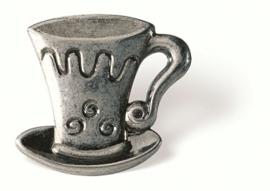 Knop Thea: 40 mm tin theekop vorm (vanaf 5 stuks)