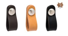 Kast Handgreep Leder/mat nikkel rond Zwart,Bruin en Beige