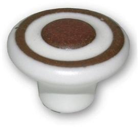 Knop Gael: 35 mm wit/bruin aardewerk
