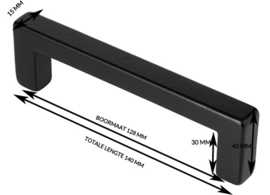 Greep Zara Zwart ijzer massief 140mm