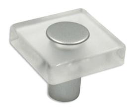 Knop Eefje: 30 mm aluminium, transparant glas effect