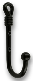 Jas haak Farina zwart ijzer 128 mm hoog