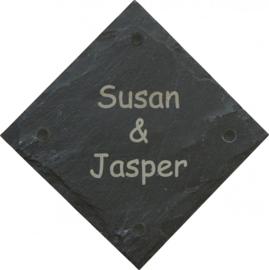 Leisteen Naambord 21 x 21 cm artnr. 2502
