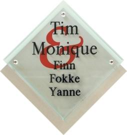 Glaslook naambord met rvs achterplaat 25x26 cm 3004