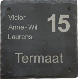 Leisteen Naambord 20 x 20 cm artnr. 2501