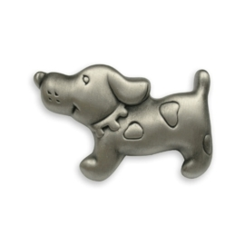 Knop Snuf: 66 mm tin hond vorm