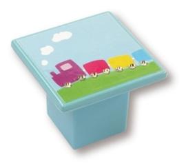 Kinder knop treintje 36 mm blauw