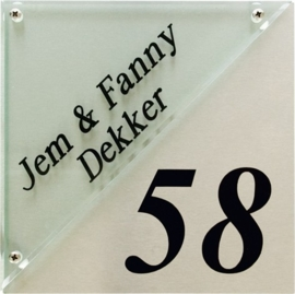 Glaslook naambord met rvs achterplaat 20x20 cm 3003