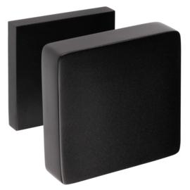 Voordeurknop vierkant aluminium / zwart look