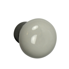 Knop porselein met voet 30mm wit