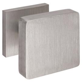 Voordeurknop vierkant  aluminium RVS- Look